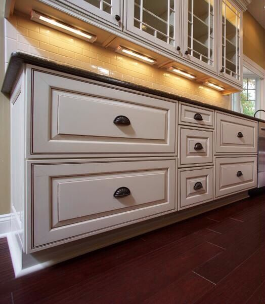Glazed kitchen cabinets new kitchen pinterest for Dove white cabinets with cocoa glaze