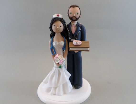 Cake Toppers Nurse & Dentist Customized Wedding Cake by mudcards