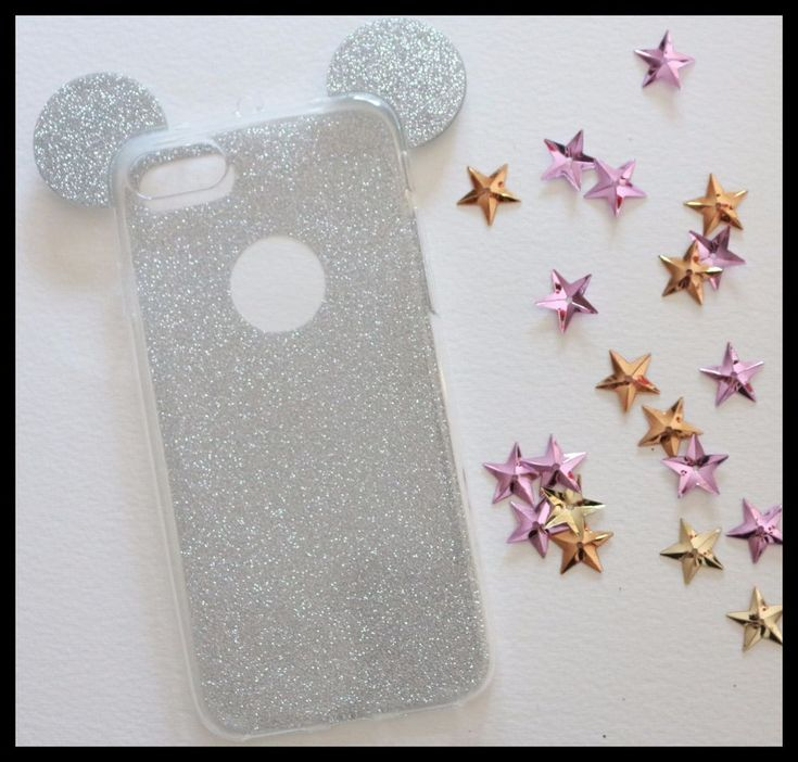 Coque Souple Mickey Minnie gris iPhone 7 + / 7 Plus silver girly chic paillette