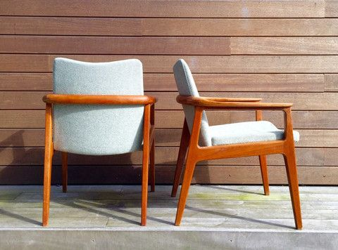 Stunning and rare danish vintage teak armchairs from France and Son by Sigvard Bernadotte.