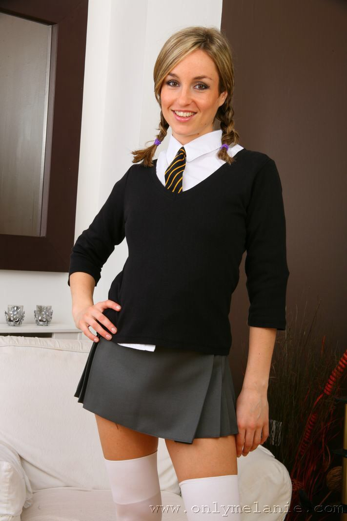 image Nylon socks and schoolgirl upskirt capri
