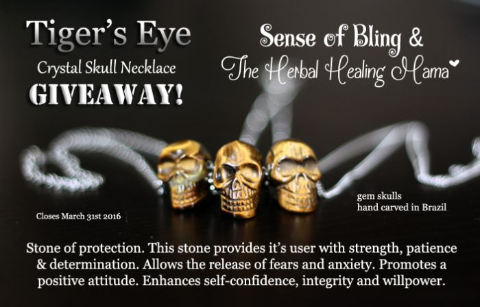 Tiger's Eye Crystal Skull Necklace -  Sense of Bling & The Herbal Healing Mama - Briar-Rose GIVEAWAY! http://wp.me/p4HPKF-1hk