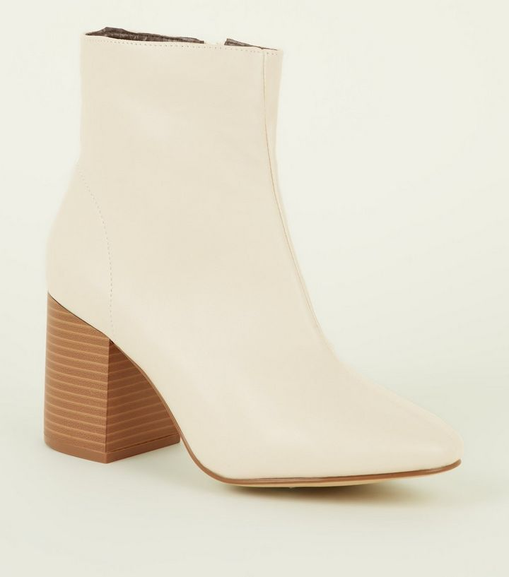 Cream Leather Look Wood Heel Ankle Boots | Wardrobe | Hatty