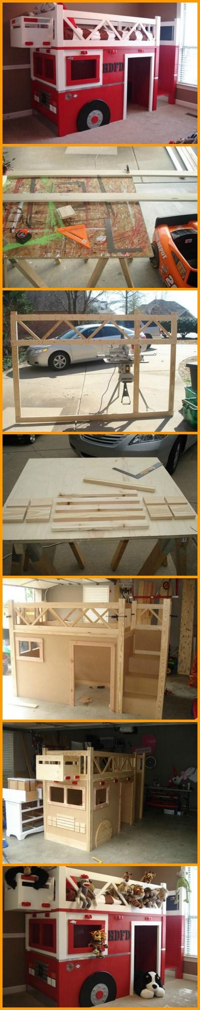 Kids love bunk beds, but you don't have to spend a lot of money to make them happy. You can make your own fire truck bunk bed, and make it a weekend bonding activity/project with the family. View how it's made here: http://theownerbuildernetwork.co/l4h3 Show this to a friend or relative who you think would love it too!