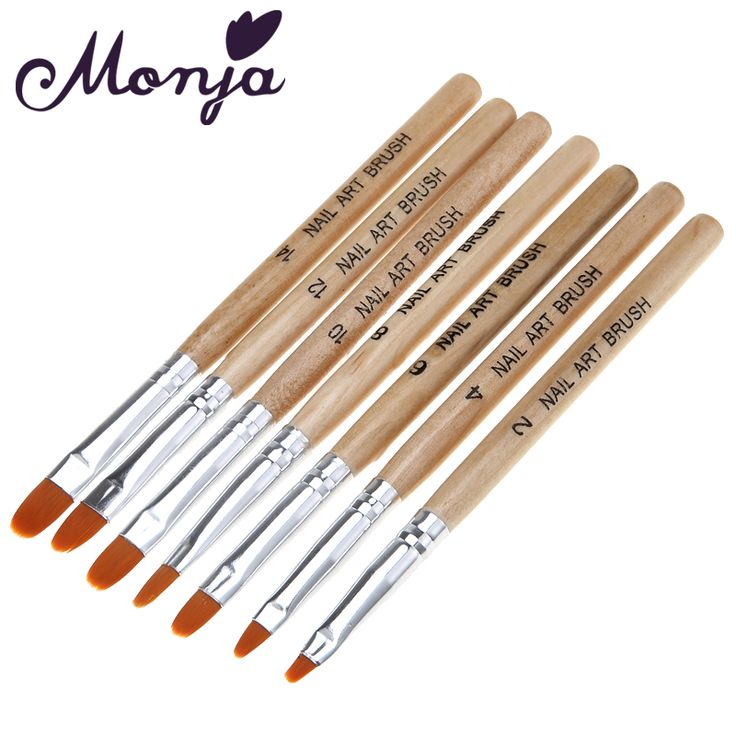7Pcs/set Wooden UV Gel Polish Builder Extension Nail Art Brush Glitter Rhinestone Sequin 3D Manicure Design Draw Paint Pen Kit