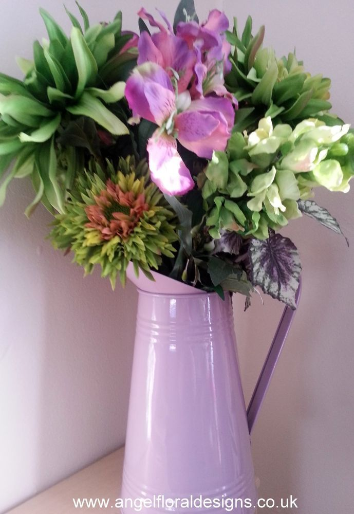 silk flowers arrangement pink green gift home mothers day - Flowers For Home Decor