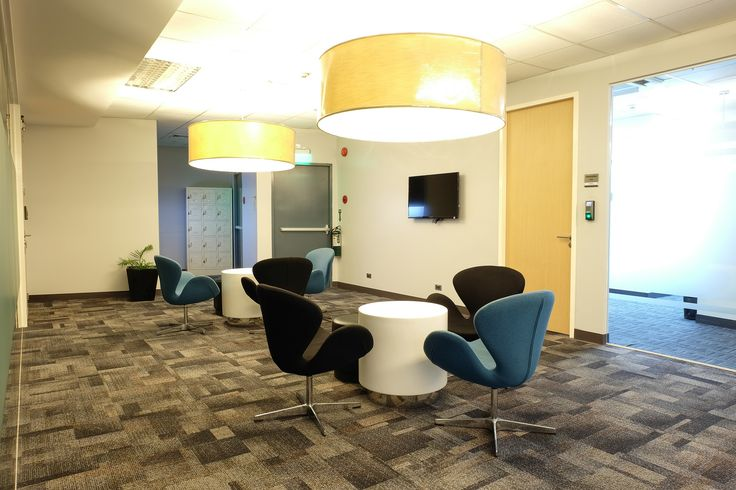 Office Idea for meeting room with blue chairs. Comfortable and ideal for  Flexible office space. One example of our office in - Makati - Philippines