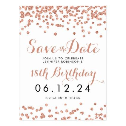 birthday save the date rose gold glitter confetti announcement