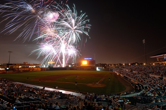 Fireworks over Principal Park (formerly Sec Taylor Stadium), where the AAA Iowa Cubs play. Wonderful childhood memories!