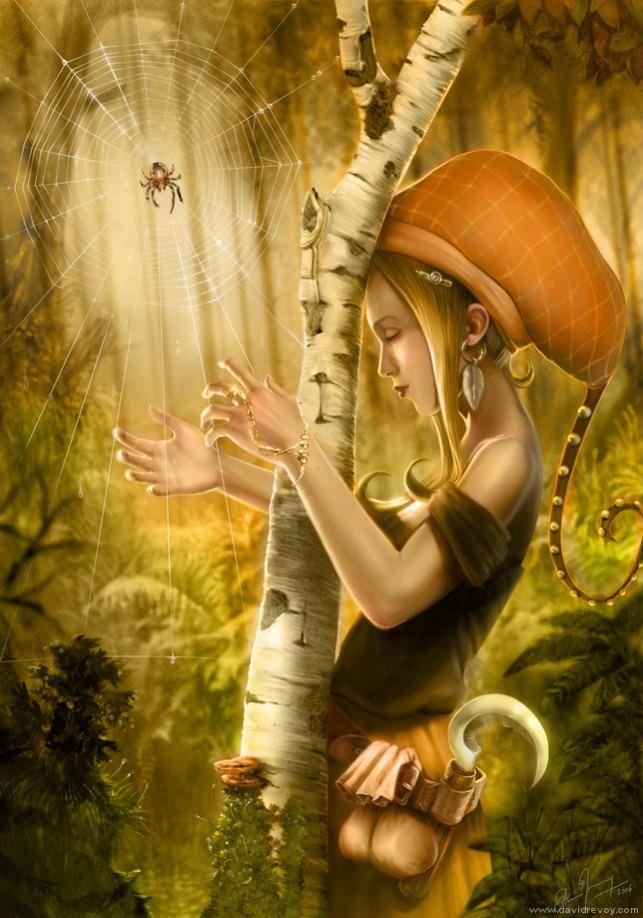 Hippie-Mädchen, Natur Märchen Spinnennetz Harfe wünscht Träume Musik Fantasy Abbildung Kunst
