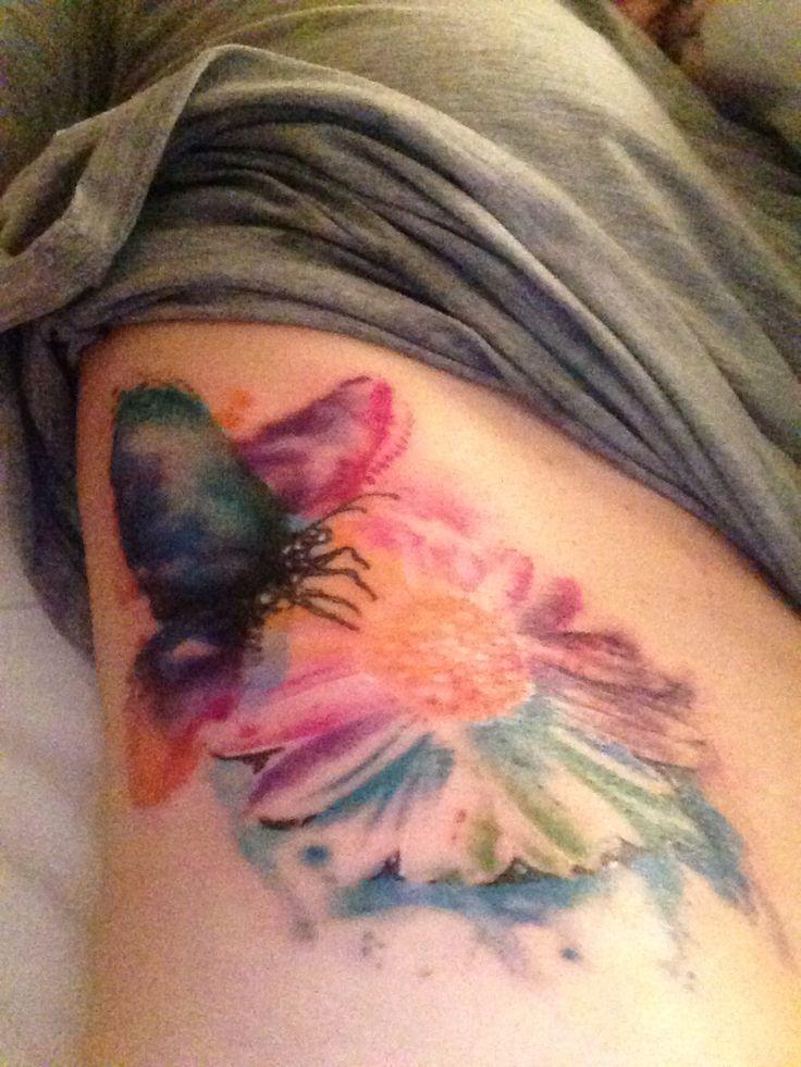 Watercolor Daisy Tattoo: Butterfly On Daisy Watercolor Tattoo;)