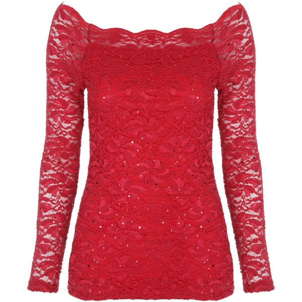 Red Sequin Lace Bardot Top (120 RON) ❤ liked on Polyvore featuring tops, shirts, red, blouses, holiday party tops, lace top, going out tops, night out tops and red lace top