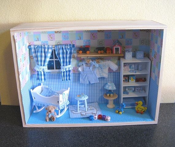 Baby Bedroom In A Box Special: Baby Room /shadow Box BABY BOY By JUESMINIATURES On Etsy