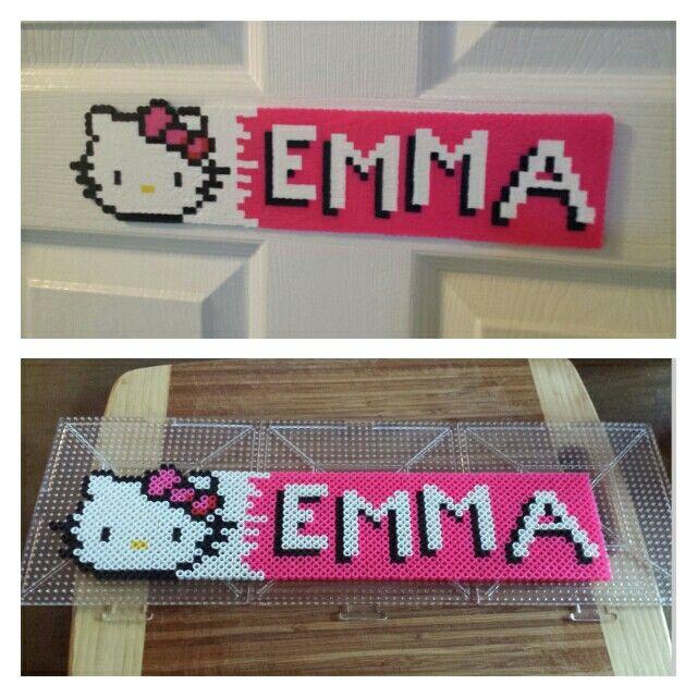 Perler bead name plate hello kitty emma