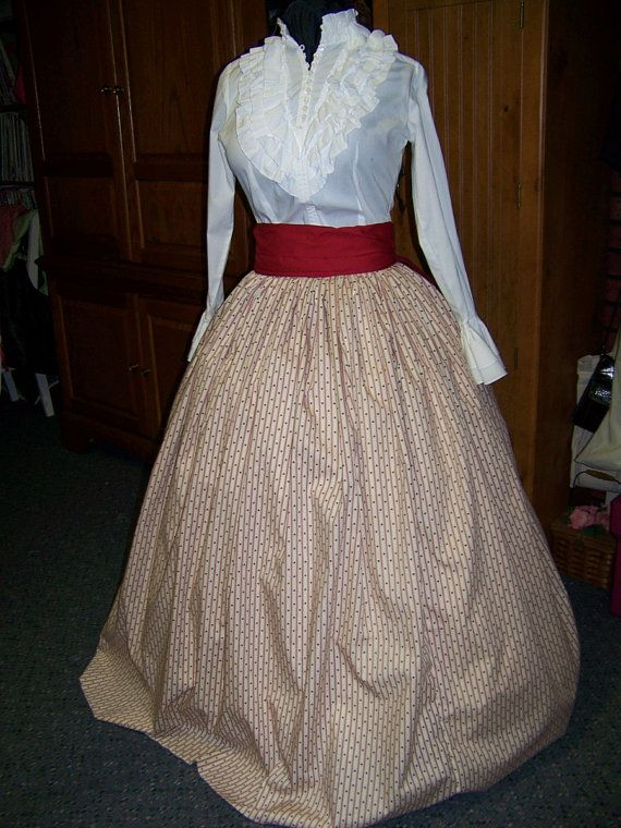 Civil War costume Long Draw string SKIRT one size fit all SALE- Red Stripe with Navy blue hearts Sale - Handmade