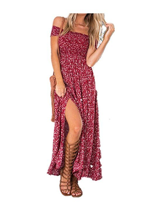 Wunderschönes Sommerkleider Damen Lange mit Schlitz Partykleider rot lang Aff link