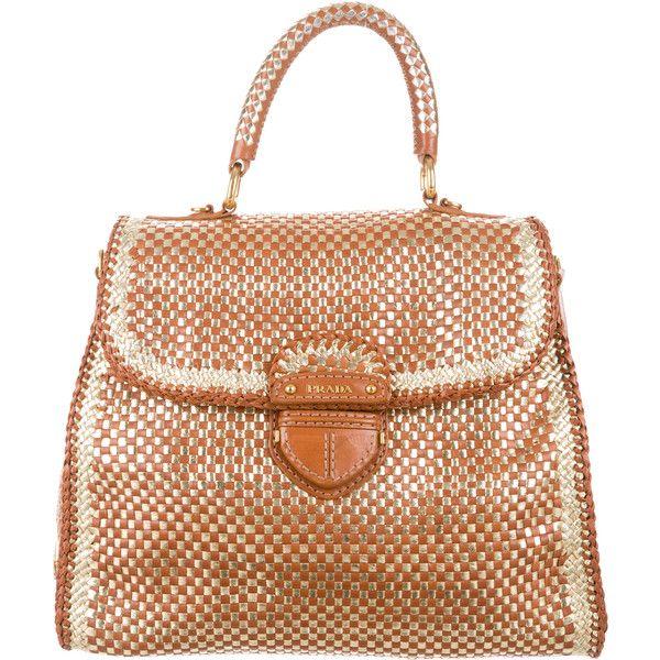 prada wristlet leather - Prada Woven Madras Satchel ($1,095) ? liked on Polyvore featuring ...