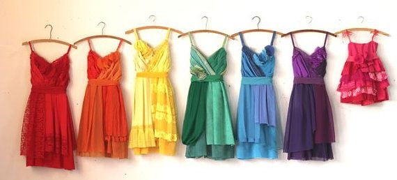 Custom Rainbow Bridesmaids Dresses