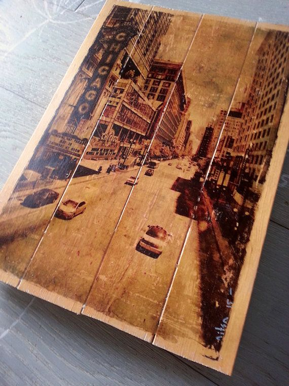 Photo on wood slats  image transfer to wood Chicago street view  wall  art decor