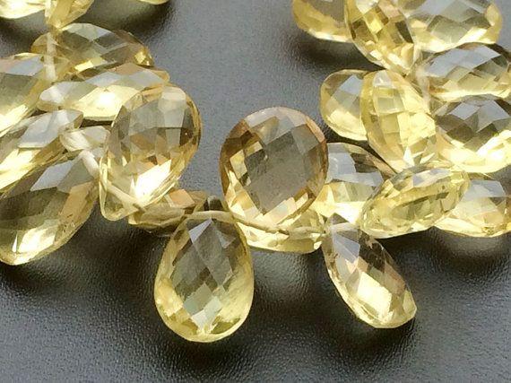 Lemon Quartz Beads Faceted Lemon Quartz Pear by gemsforjewels