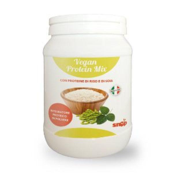 Protein Vegan Mix è un integratore preparato con proteine esclusivamente vegetali, della soia e del riso.