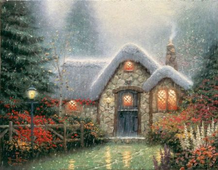 The Woodsman's Thatch - by Thomas Kinkade (Slightly Large)