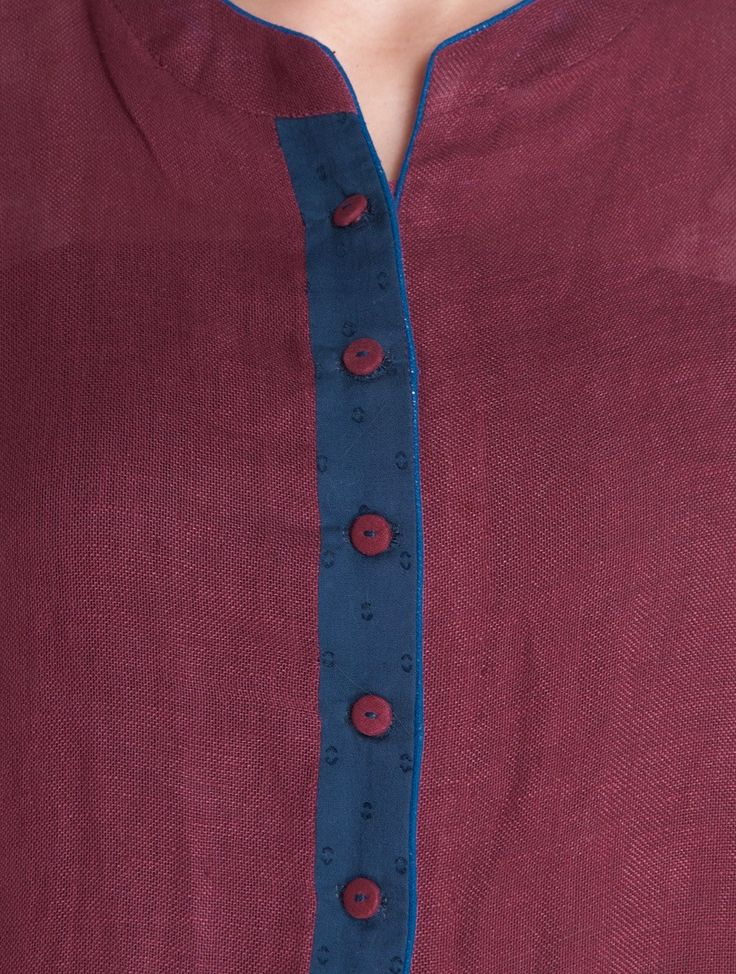 Buy Burgundy Asymmetrical Button Down Linen Cotton Kurta Online at Jaypore.com