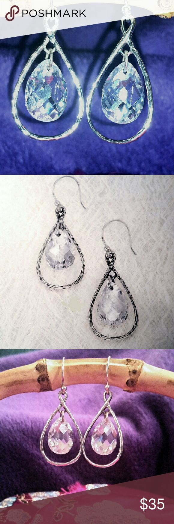 Silpada Faceted Cubic Zirconia Earrings Sterling Silver & Cubic Zirconia Illuminated earrings;  excellent condition. Silpada  Jewelry Earrings