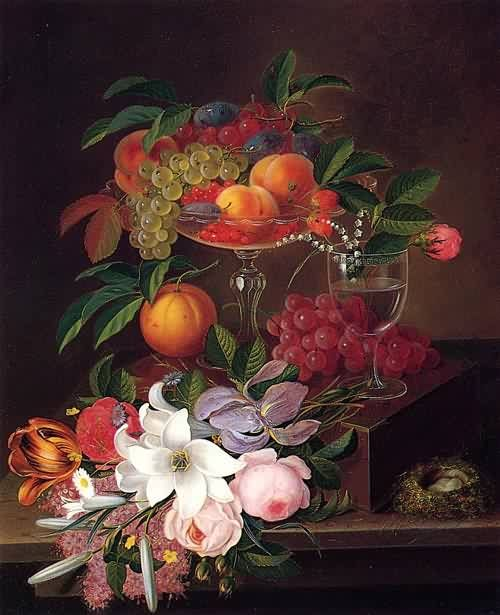 Still Life Fruit and flowers | Still Life with Fruit Flowers and Bird's Nest Date unknown Painting by ...