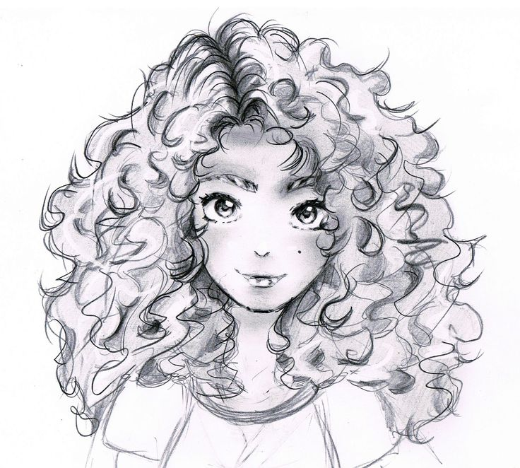 curly hair anime drawing sketch pencil sketches scetch manga