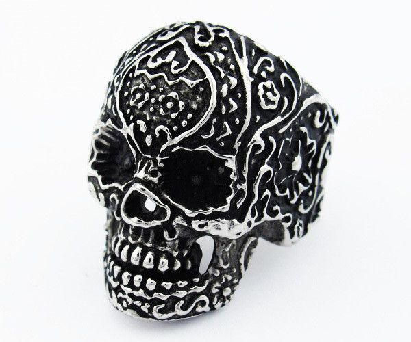 Floral Design Skull Ring Hand Crafted from 316L surgical grade stainless steel Available in sizes 6 thru 12