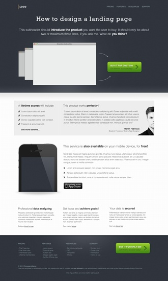 A landing page design - Example & free PSD