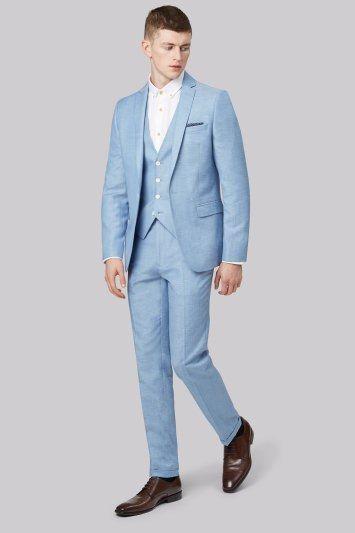 Moss London Slim Fit Sky Blue Linen Jacket  effective Homo sapiens