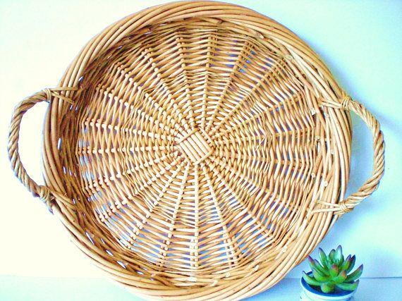 Large Basket Tray Vintage Rattan Tray XL Serving Tray Natural
