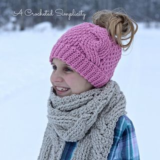 Crochet Pattern: Big Bold Cabled Messy Bun / Ponytail, Beanie & Slouch Hat by A Crocheted Simplicity