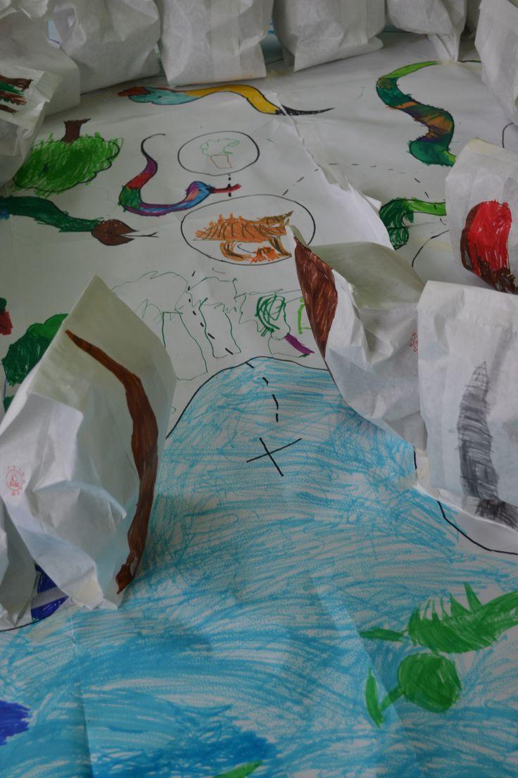 Treasure Island. 3-5 years children. At school.