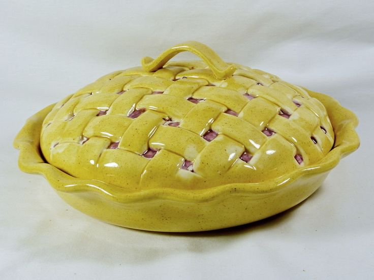 PIE Plate Pie Dish Covered 11\  round Deep Dish Ceramic Cherry ... : plate pies - pezcame.com