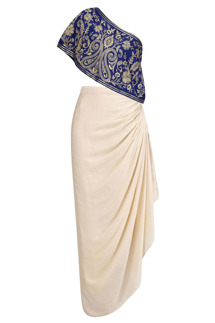 Blue floral embroidered one shoulder top with cream drape skirt available only at Pernia's Pop Up Shop.