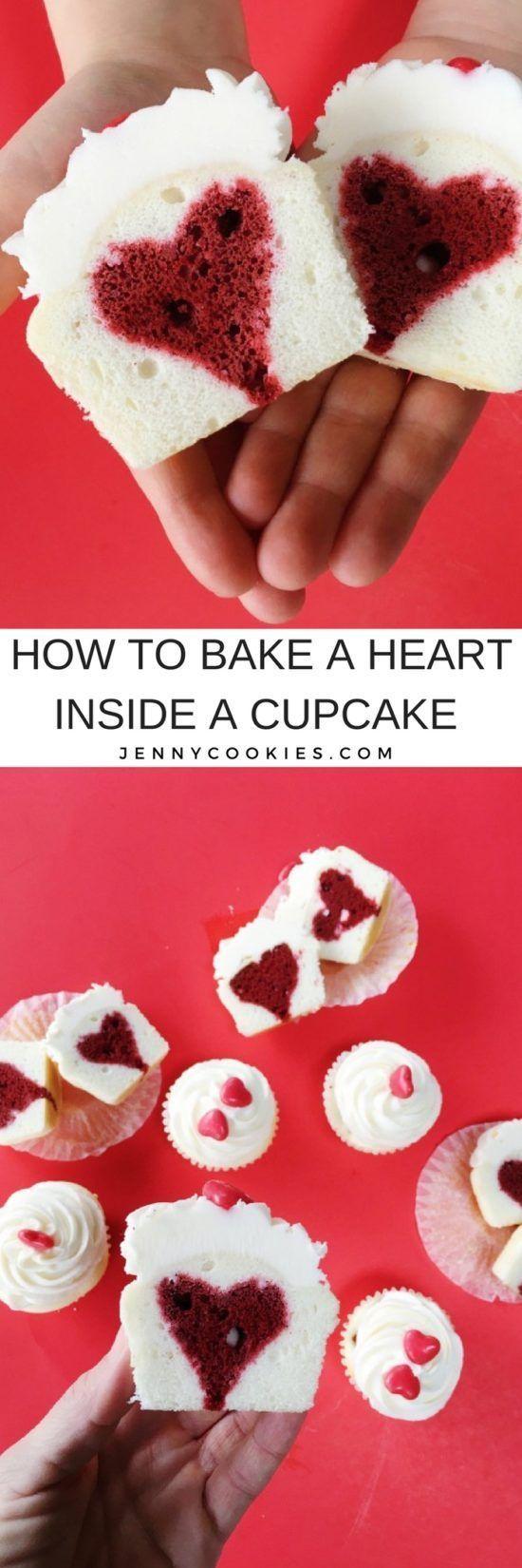How to Bake a Heart Inside a Cupcake | heart cupcake tutorial | heart cupcake recipes | Valentine's Day cupcake recipes | easy cupcake tutorials | heart inspired dessert recipes || JennyCookies.com #heartcupcakes #valentinesday #caketips