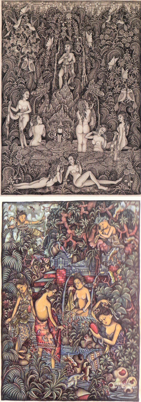 """I Ketut Mertha & Gusti Ngurah Muryasa. """"Rajapala"""" Balinese/Batuan painting"""