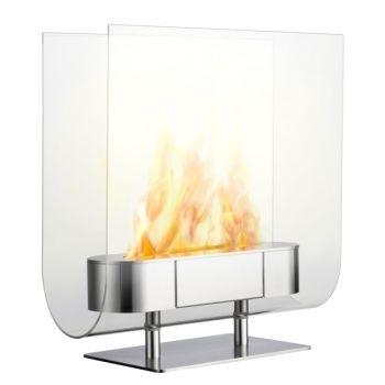ethanol fueled indoor glass fireplace by Iittala