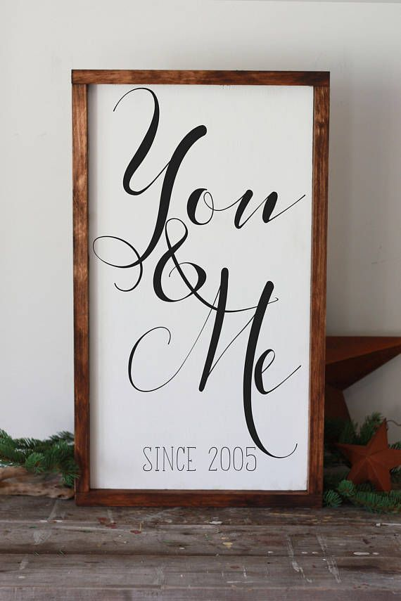 """you and me sign, personalized, modern farmhouse framed, hand painted wood decor, affiliate, romantic decor, anniversary, gift for wife, 14x24"""""""