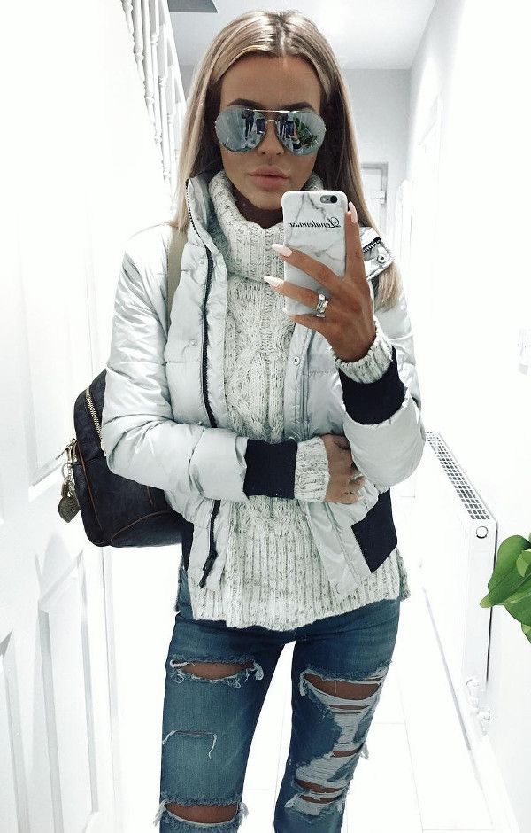 Ootd how cool is this silver jacket and jumper