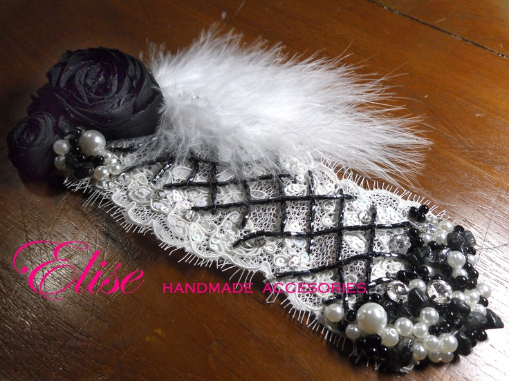 hair accessories for party ,,   headpiece lace white off with beads & pearls black .