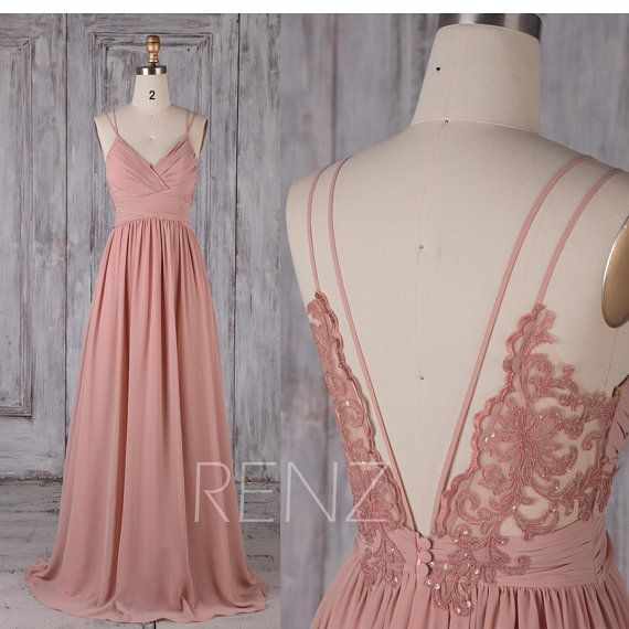 Bridesmaid Dress Blush Long Chiffon Boho Wedding Dress Spaghetti Strap Prom Dress Ruched V Neck Open Back A-line Party Dress (H549B)