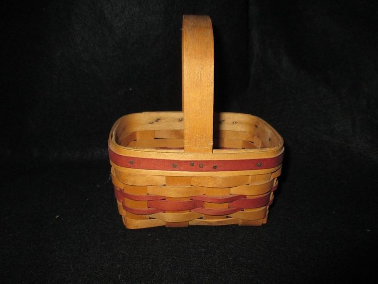 Maple Leaf Baskets Burgundy Primitive Country Rectangle Basket with Handle 1997 #MapleLeafBaskets #Country