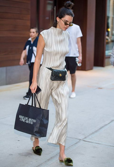 Kendall Jenner wearing silver plisse co-ords | ASOS Fashion & Beauty Feed