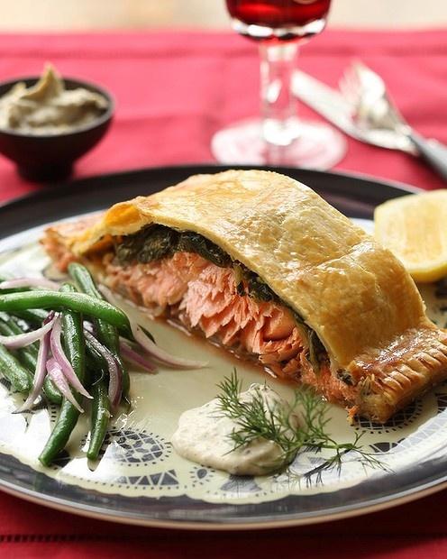 Salmon and spinach en croute with dill creme fraiche by Jill Dupleix. Photo: Marina Oliphant
