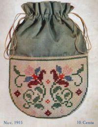 Op mijn surftocht op internet kwam ik dit geborduurde tasje uit 1915  tegen. Een patroontje zat er niet bij en ook niet de gebruikte kleure...
