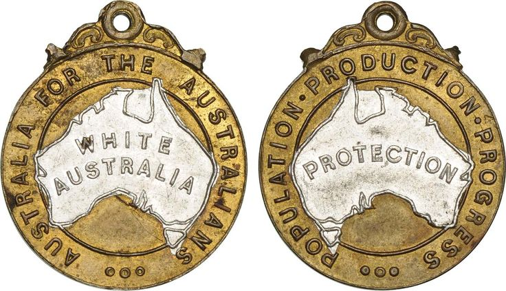 White Australia Policy campaign badge 23x27mm were made in brass and aluminium